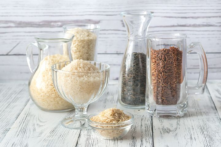 Different kinds of rice on the white background