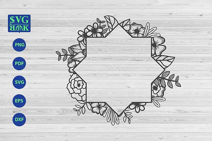 Circle floral frame svg, monogram frame dxf cut file