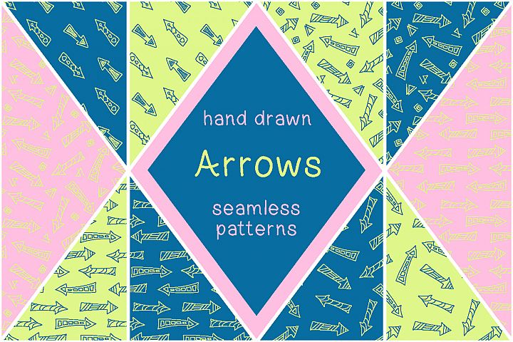 Hand drawn arrows - vector patterns