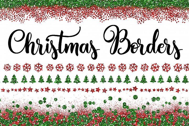 Christmas Glitter Borders PNG Overlays