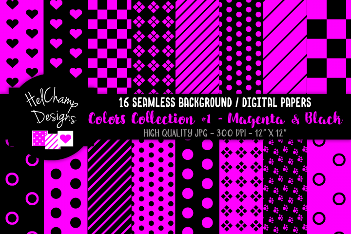 16 seamless Digital Papers - Magenta and Black - HC077