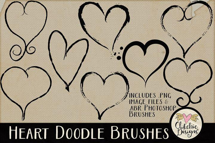 Heart Doodle Photoshop Brushes