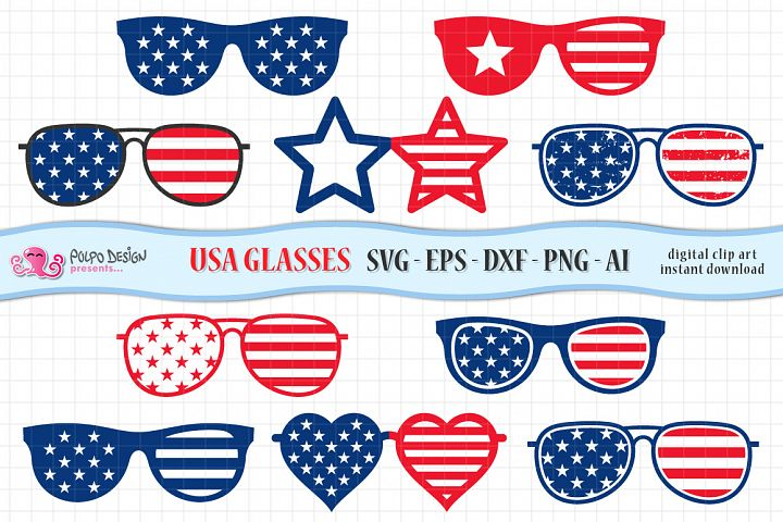 4th of July Glasses SVG. Clip art in Svg, Eps, Dxf, Ai, Png.