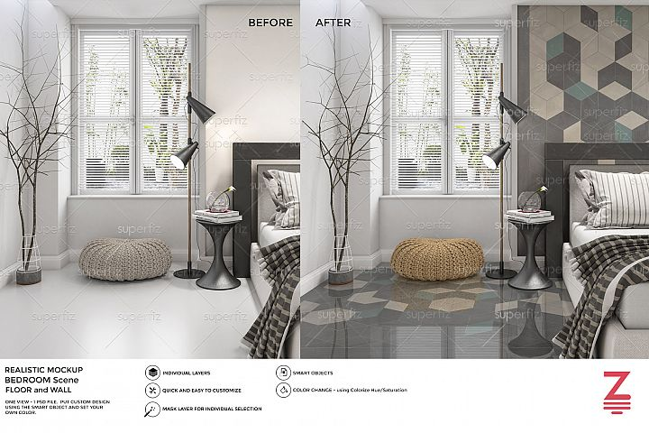 Bedroom PSD Mockup to change Floor and Wall surface SM39
