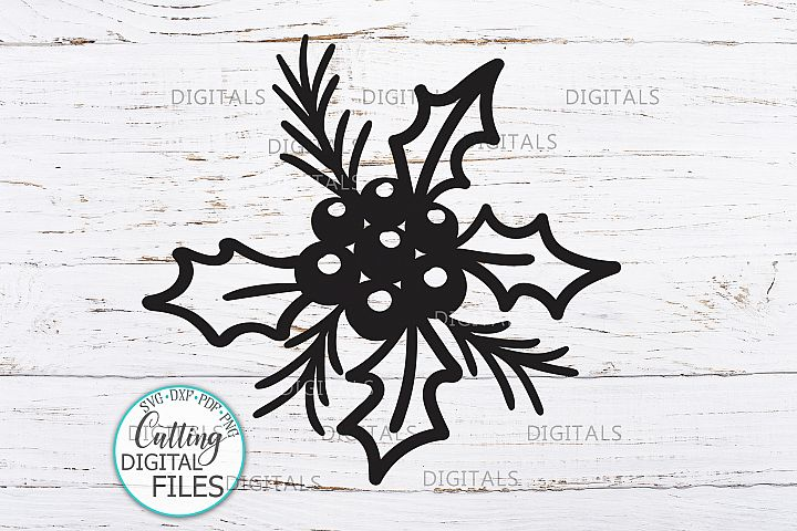 Christmas Holly berries svg dxf laser cut paper cut template