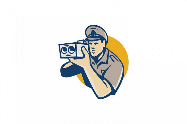 policeman with police speed camera retro