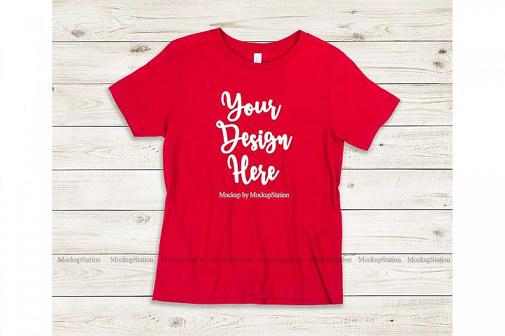 Kids Red Tshirt Mockup, Youth Shirt Bella Canvas 3001Y