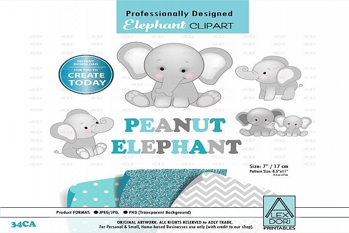 Peanut Baby elephant ,cute sitting pose,Clip Art,wall Art