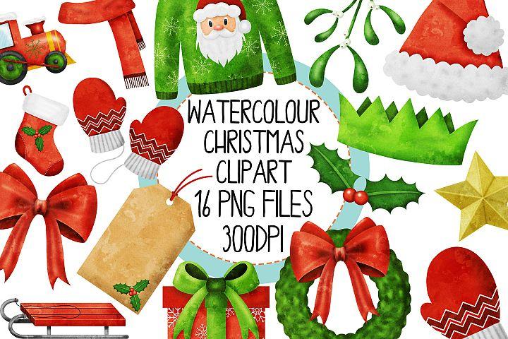 Watercolor Christmas Clipart Set 4