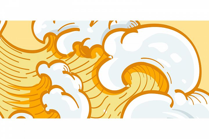 YELLOW WAVE DOODLE ABSTRACT BACKGROUND
