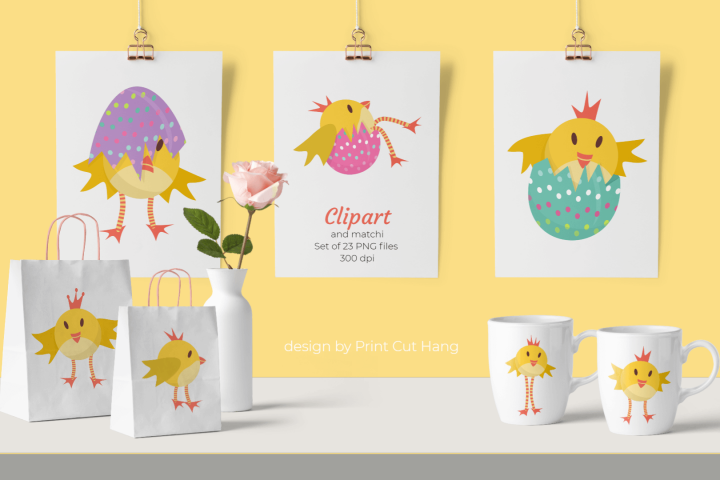 Easter Chicken Clip Art and Papers Set of 23 PNG files