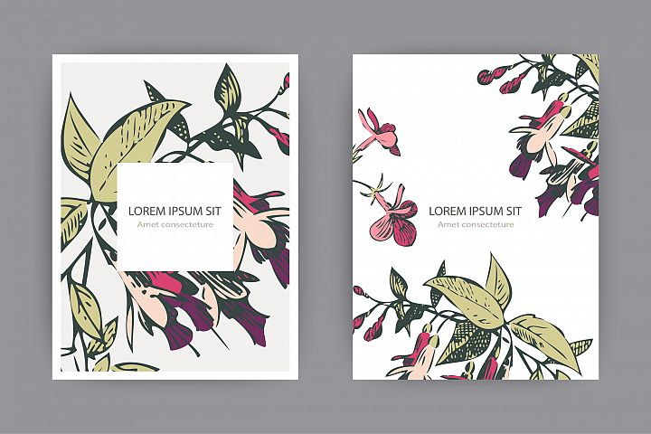 Fuchsia flowers templates for card, invitation, wedding