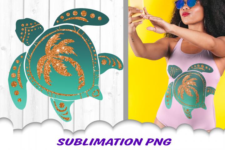 Turtle Glitter Palm Beach Sublimation PNG Design