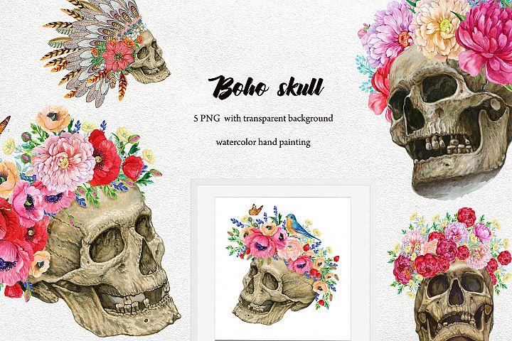 Skulls with flowers .Boho style Skull Clipart. Halloween wat