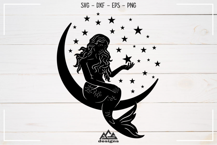 Cute Mermaid Moon Stars Sillhoutte Svg Design
