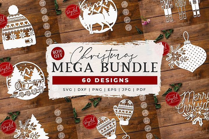 MEGA BUNDLE! 60 Christmas Cut Files - SVG | Papercut