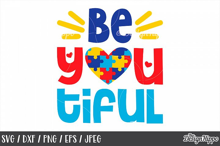 Autism Awareness, Be You Tiful, Puzzle Pieces Heart, SVG PNG