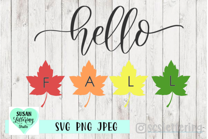 Hello FALL Cut File - SVG, PNG, JPEG