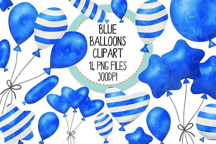 Blue Watercolor Balloon Clipart Set