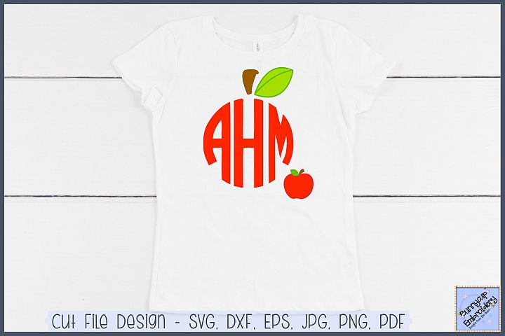 Apple Monogram Topper - SVG and Clipart