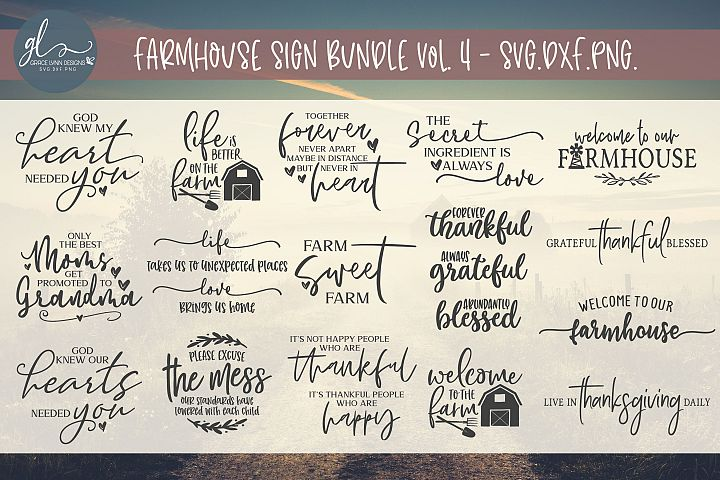 Farmhouse Sign Bundle Vol. 4 - 16 Designs - SVG, DXF & PNG