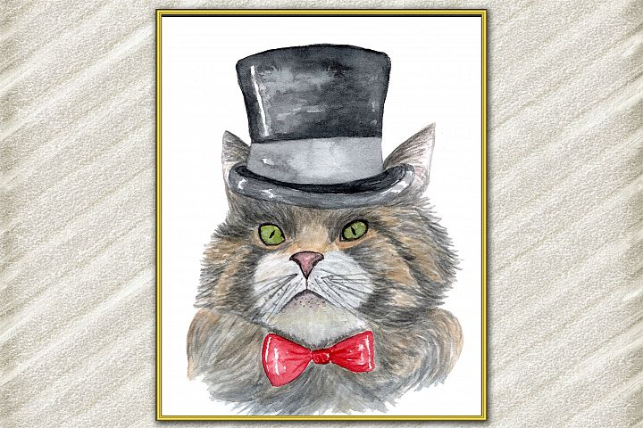 Cat Watercolor Print, Funny cat Poster, Cat Wall Art