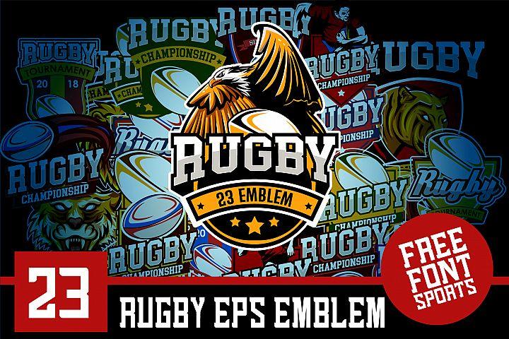 Set 23 Rugby Eps Emblem Logo Template