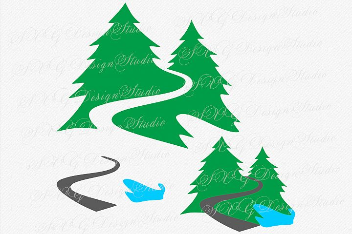 Forest tree svg, Forest Road SVG, road tree svg, Forest logo, forest design, Road in forest cutting file