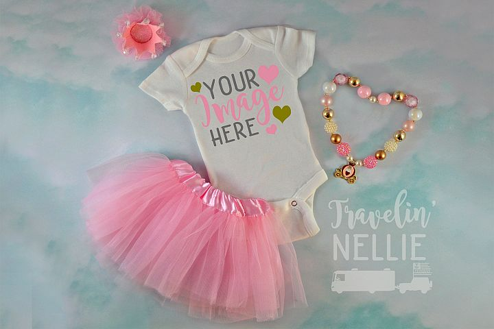 White Bodysuit Mockup One Piece Styled Baby Girl Tutu JPG