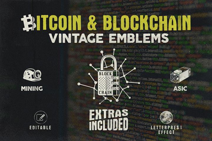 Bitcoin & Blockchain Vintage Emblems / SVG / EPS Files