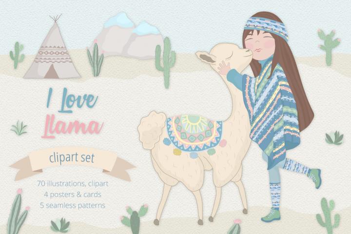 I Love Llama Illustration Set