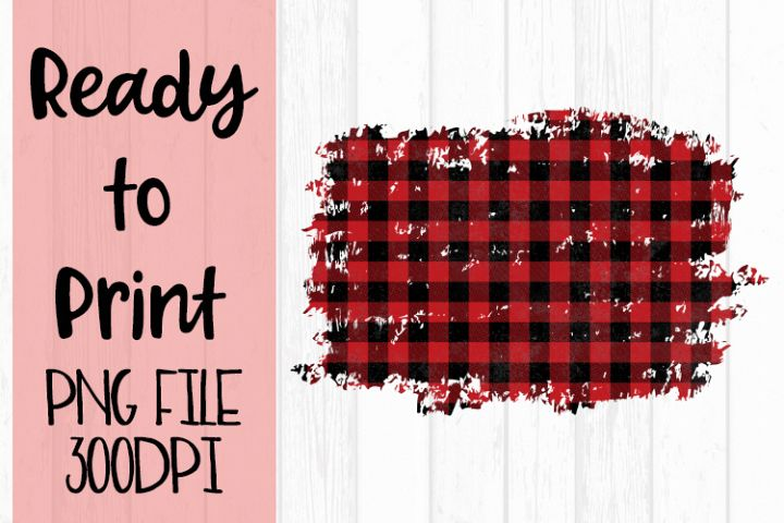 Red Buffalo Plaid Frame Ready to Print example image 1
