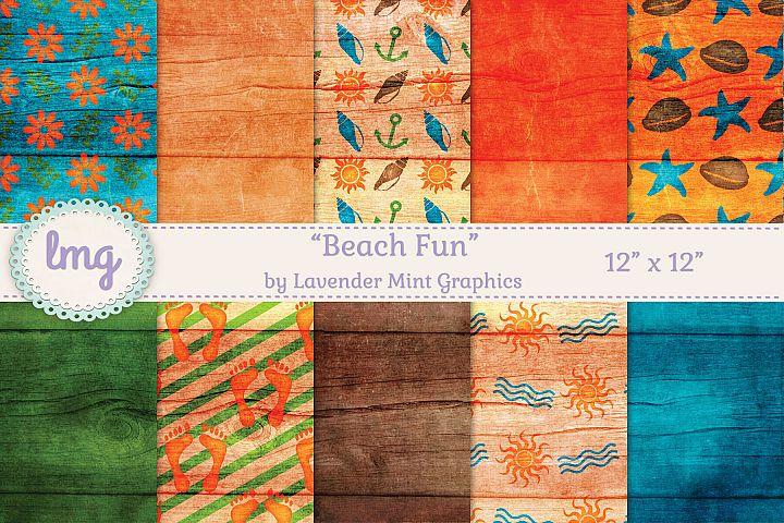 Beach Fun-Seashells Anchors Starfish Digital Scrapbook Paper