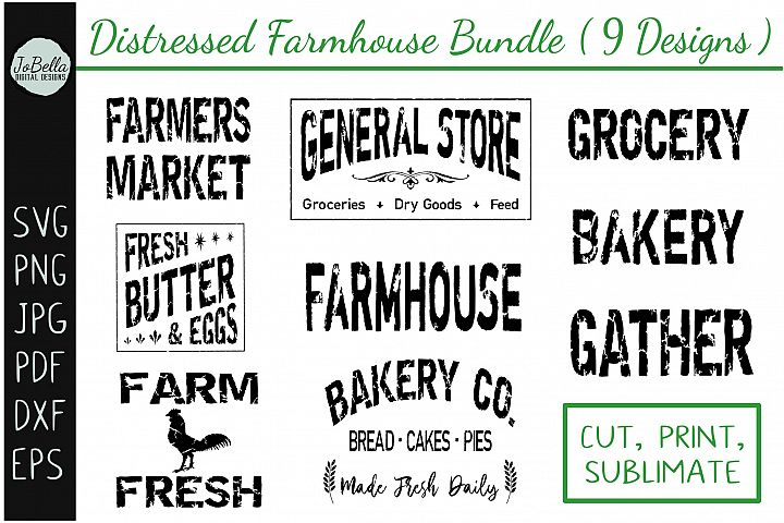 Distressed Farmhouse SVG Bundle, Sublimation PNGs, Etc.