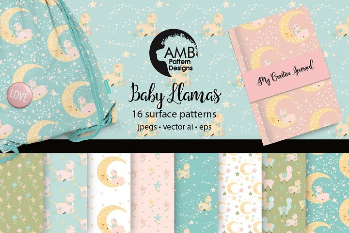 Baby Llamas Surface Patterns, Llama Nursery Papers, AMB-2267