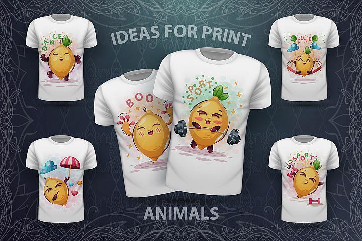 Set cute lemon - for print t-shirt