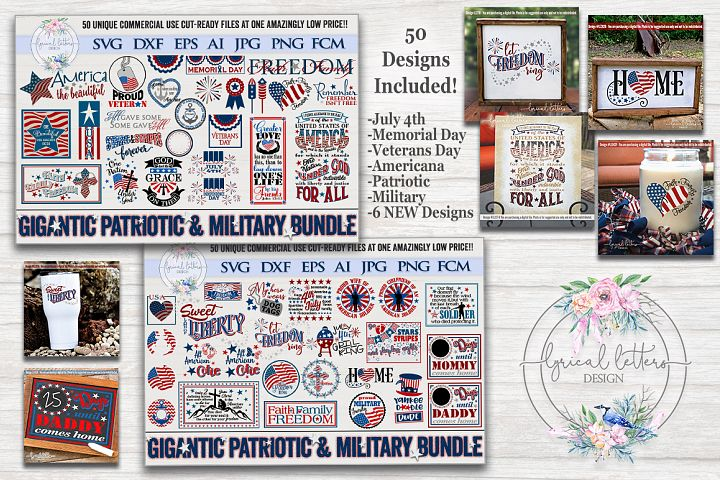 Gigantic Patriotic Military July 4th Bundle of 50 SVGs