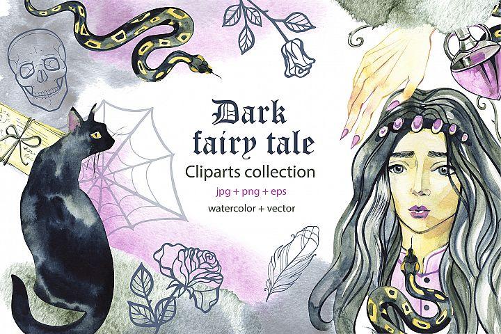 Dark fairy tale. Watercolor cliparts