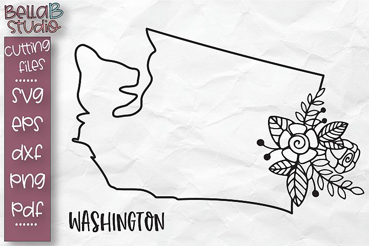 Washington State SVG, Washington Floral State Map SVG file