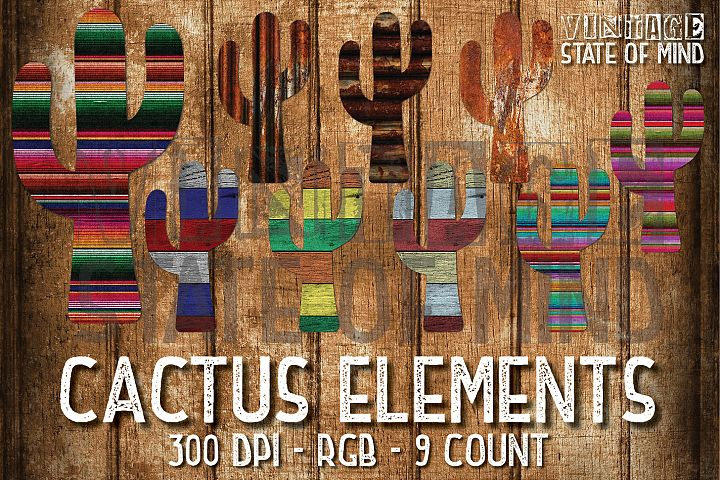 Rusty Serape Cactus Sublimation Graphics