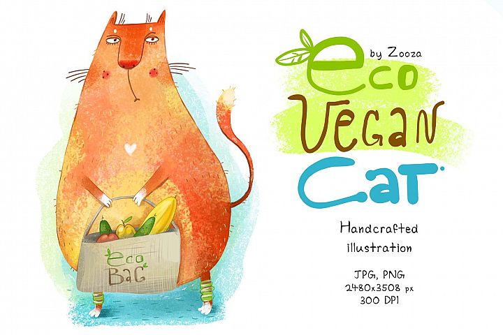 Eco Vegan Cat - illustration
