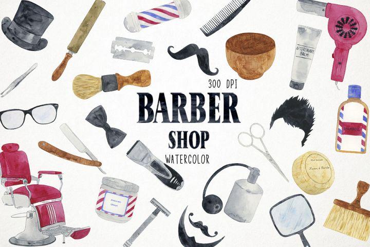 Watercolor Barber Shop Clipart, Barber Shop Clip Art