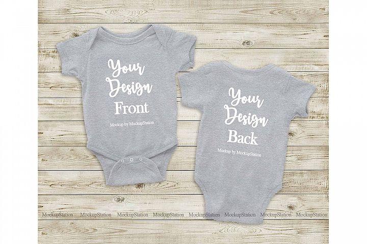 Heather Grey Front & Back Baby Bodysuit Mockup, Toddler Mock