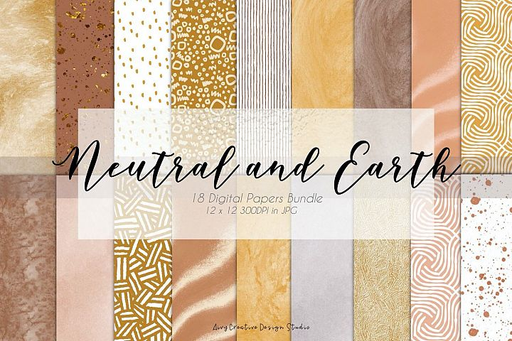 Neutral and Earth Tone Minimalist Digital Papers Set