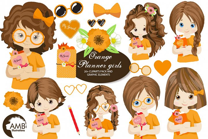 Orange Planner Girls Clipart AMB-2183