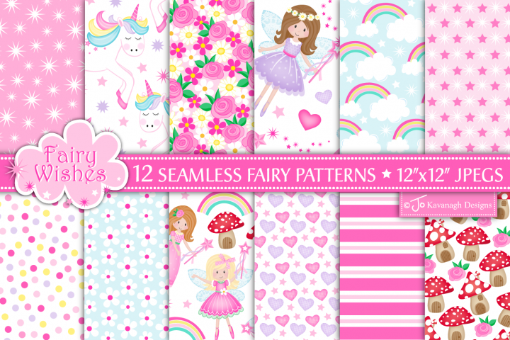Fairy digital papers, Unicorn patterns, Fairies -P10