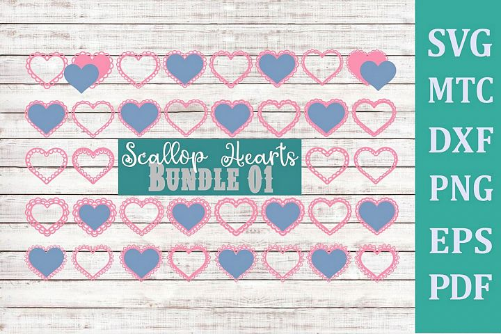Hearts 01 Scallop BUNDLE of 36 Valentine Love SVG Cut File