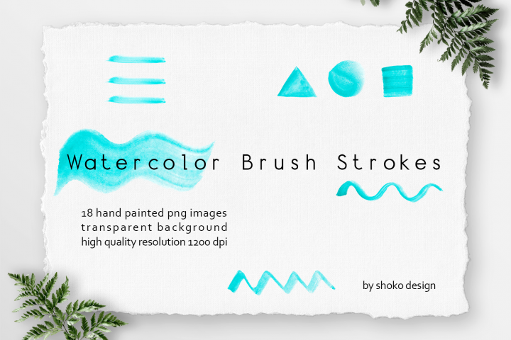 Turquoise Watercolor Brush Strokes Set