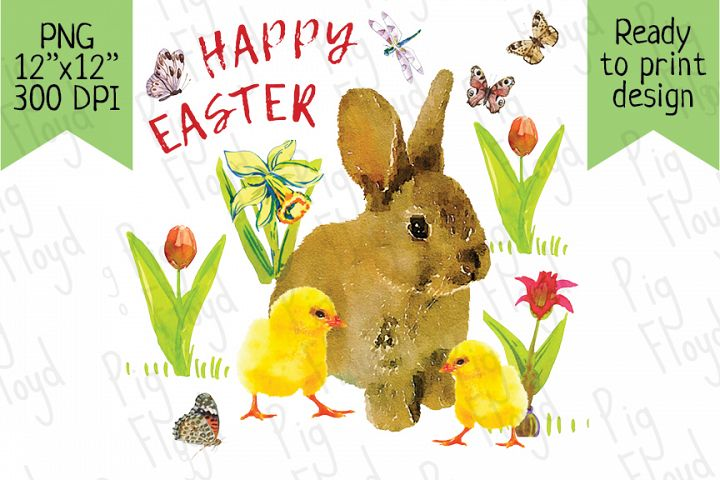 Happy Easter, Ester design, Bunny and Chicken, Bunny PNG