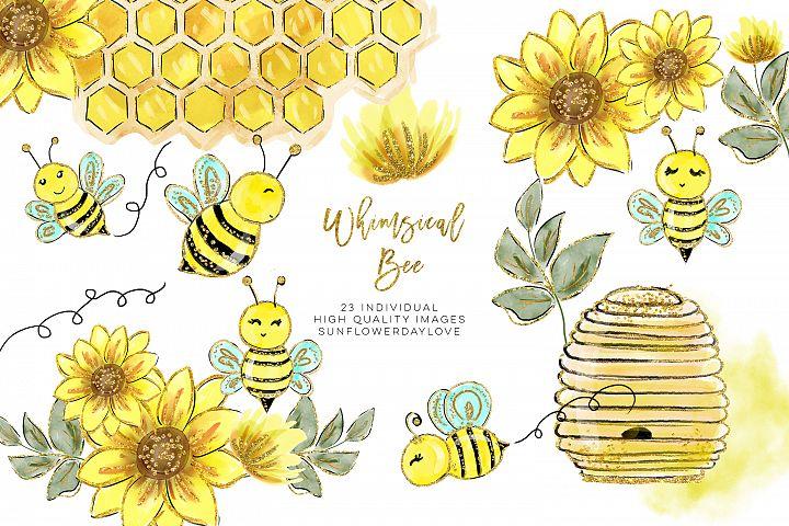 Watercolor bee clip art, Watercolor Honey Clipart